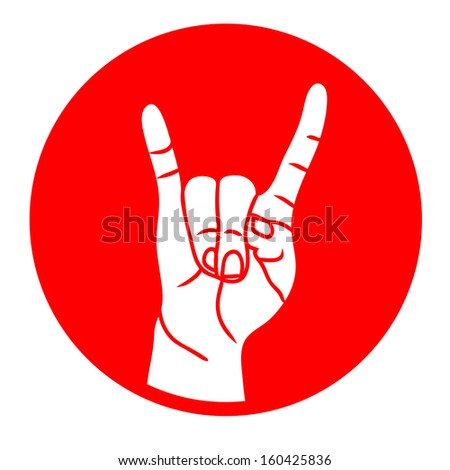 Rock and Roll hand sign red isolated on white background raster