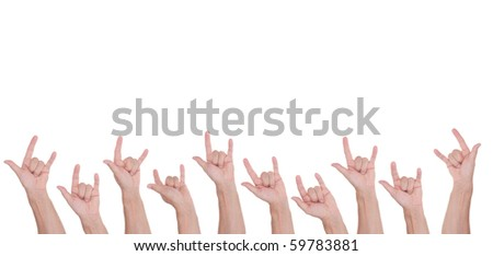 Rock and Roll sign man's hand set, isolated on white - stock photo