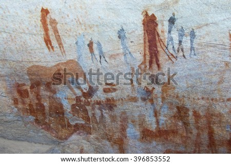 Rock art of ancient bushmen in South Africa's Cederberg Mountains - Bushman's Kloof reserve.  Estimated age 2.000 to 10.000 years old.