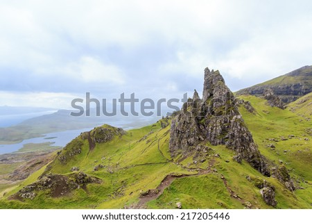 "Rock at a mountain called ""The Storr"" in Scotland on the isle of Skye"