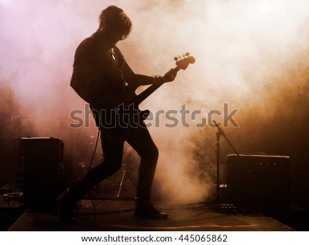 Silhouette Guitar Player On Stage Dark Stock Photo ...