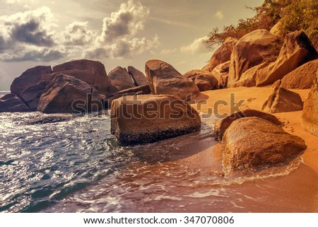 rock beach and sea summer nature landscape - stock photo