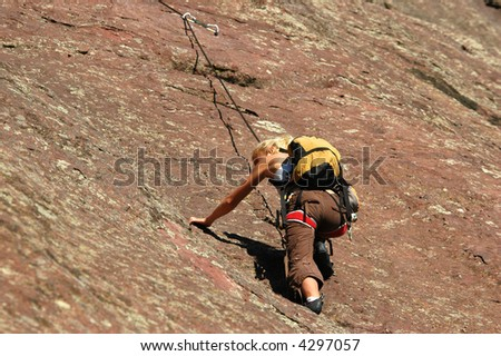 Rock Climber on a Belay in the Colorado Flatirons