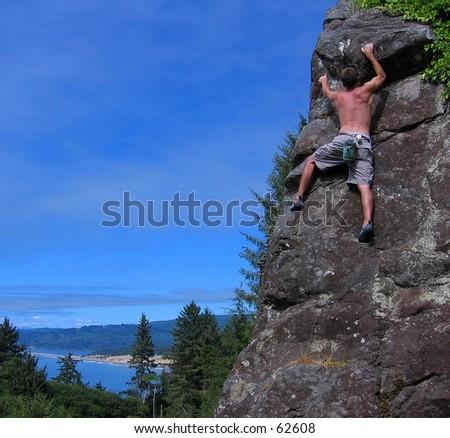 Rock climbing at Patrick's Point, CA - stock photo