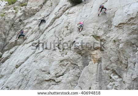 Rock climbing in action. Paklenica national park, Croatia.