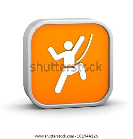 Rock climbing sign on a white background. Part of a series. - stock photo