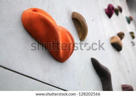 Rock climbing wall - stock photo