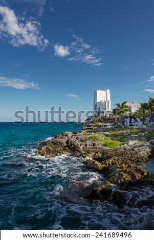 rock coast Cozumel Mexico caribbean sea - stock photo