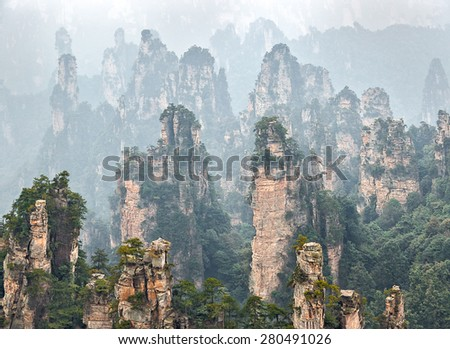 Rock columns mountain (Avatar rocks). Zhangjiajie National Forest Park was officially recognized as a UNESCO World Heritage Site - China - stock photo