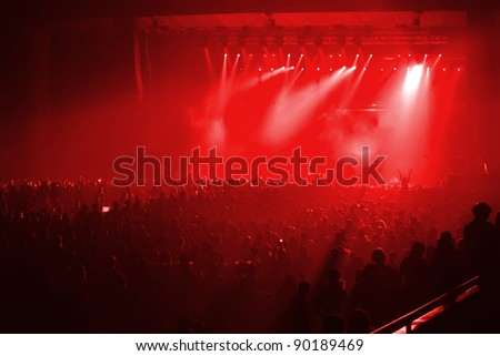 Rock concert with red background - stock photo