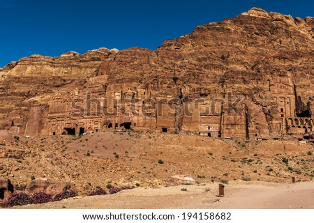 Rock cut architecture in Petra. The city of Petra was lost for over 1000 years. Now one of the Seven Wonders of the Word