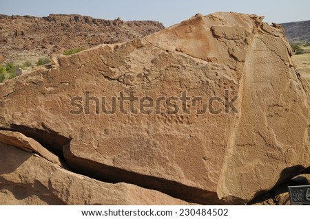 Rock Engravings, historic, Twyfelfontein, Namibia, Africa - stock photo