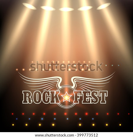 Rock Festival Poster Template. Stage in spotlights and wording Rock Fest decorated by wings and star. Free font used. - stock photo
