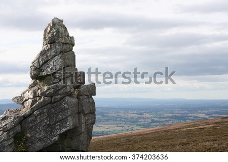 Rock formation at the Stiperstones, Shropshire, England.