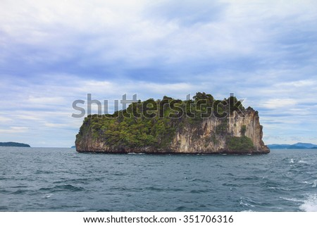 Rock formation in the Andaman Sea on the way to Island and Maya Bay Paradise - Thailand - stock photo