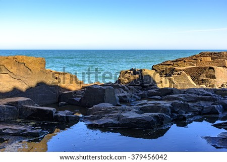 Rock formation known as stone Guardhouse located in Torres, the northern coast of Rio Grande do Sul