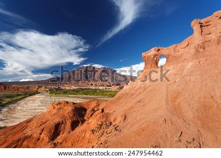 Rock formation, Quebrada de Cafayate, Salta, Argentina - stock photo