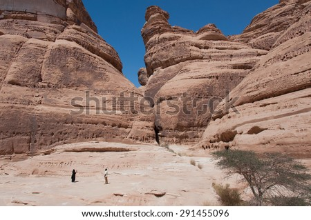 Rock formations in Madain Saleh, Saudi Arabia. - stock photo