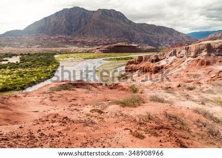Rock formations in Quebrada de Cafayate valley, Argentina - stock photo