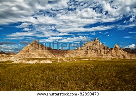 Rock formations in the Badlands National Park, South Dakota - stock photo