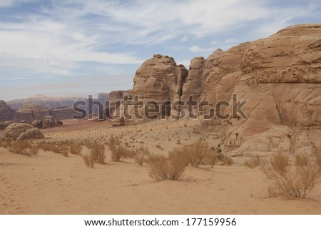 Rock formations in the desert Wadi Rum, Jordan