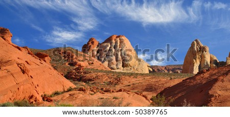 Rock formations in Valley of Fire, State Park. - stock photo