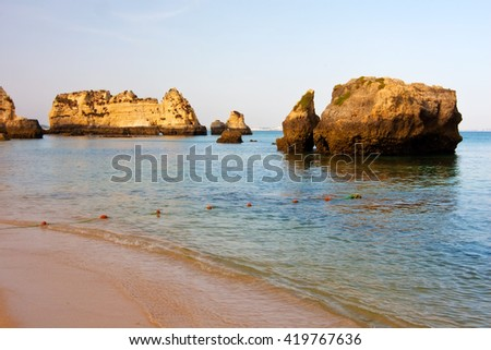 Rock formations, Lagos, Portugal.