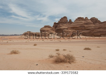 Rock formations near Al-Ula in the deserts of Saudi Arabia. - stock photo