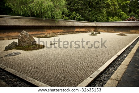 Rock Garden Ryoanji - Kyoto, Japan - stock photo