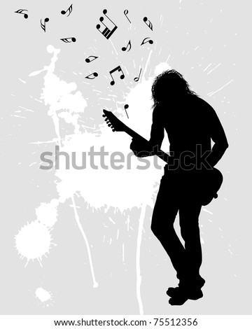 Rock group guitarist - stock photo