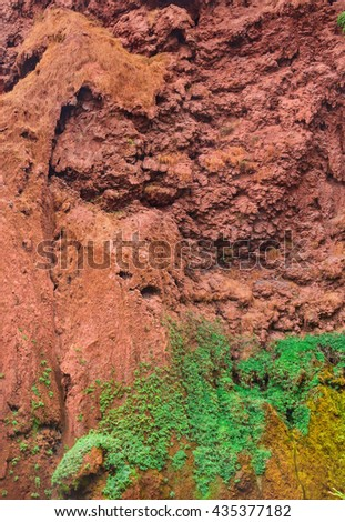 Rock in Morocco from red clay with plants growing on it. Nearl waterfall in Ouzoud Azilal, Morocco, Grand Atlas - stock photo