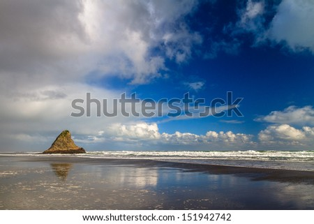 Rock in the Sea, Karekare Beach, Auckland, New Zealand - stock photo