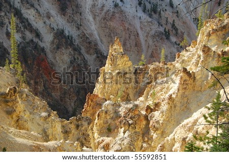 Rock in Yellowstone National Park - stock photo