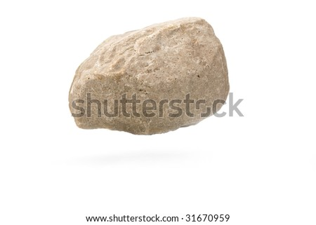 rock isolated on white with a soft shadow