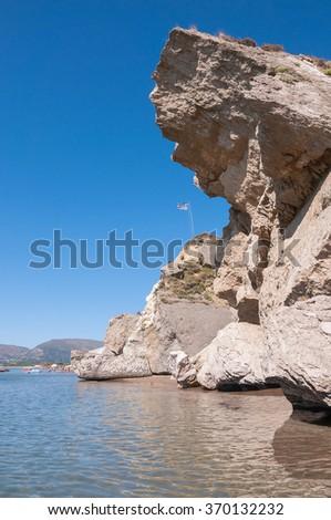Rock landslide on the Kalamaki beach on Zakynthos, Greece - stock photo