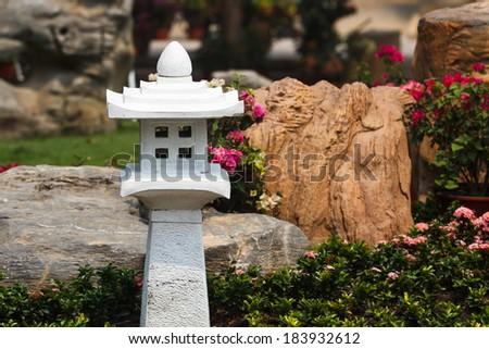 rock lantern in portland japanese garden - stock photo