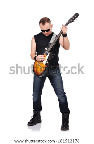 rock musician with electrical guitar