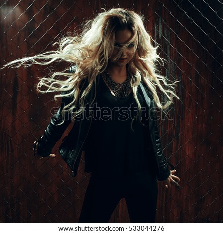Rock N Roll Girl Hairstyles : Rocknroll girl portrait sun glasses stock photo 50775322