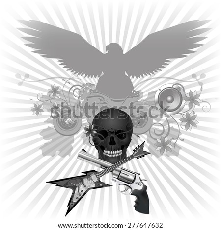Rock n roll raster version background with eagle and motorcycle skull with a guitar and a gun - stock photo