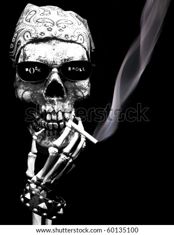 Rock N Roll skeleton - stock photo