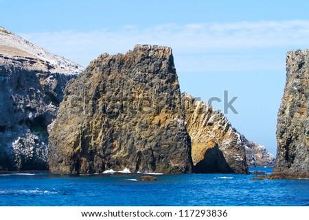 Rock near Anacapa Island, Channel Islands National Park, California, USA - stock photo