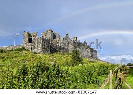 Rock of Cashel, Tipperary, Ireland was the traditional seat of the kings of Munster and is one of the most remarkable collections of Celtic art and medieval architecture to be found in Europe. - stock photo