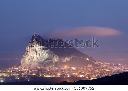 Rock of Gibraltar at night - stock photo