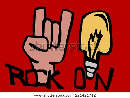 Rock on.Image of hand and bulb