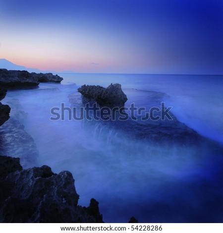Rock on sea (Long Exposure) - stock photo