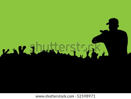rock or rap concert with people in silhouette waving hands and fists - stock photo