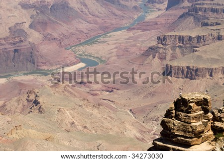rock outcropping on the Grand Canyon - stock photo