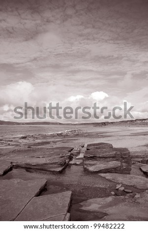 Rock Pool on Bay of Skaill Beach, Orkney Islands, Scotland - stock photo