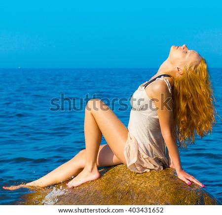 Rock Portrait Beach  - stock photo