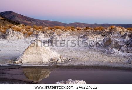 Rock Salt Tufa Formations Sunset Mono Lake California Nature Outdoors - stock photo